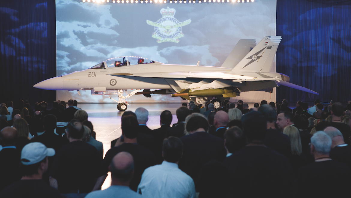 A44-201 was the centre of attention at the July 8 rollout ceremony. (Boeing)