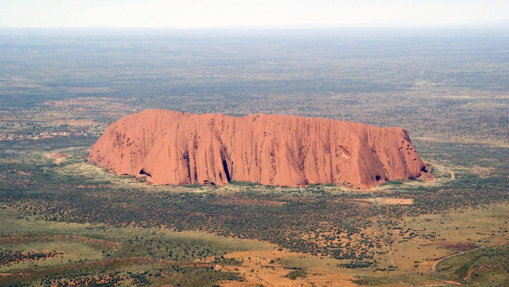 An aerial view of Uluru. (Wikimedia Commons/David Nicolson)