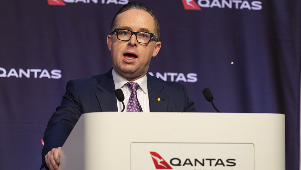 Qantas chief executive Alan Joyce delivers the airline group's 2018/19 full year results. (Seth Jaworski)