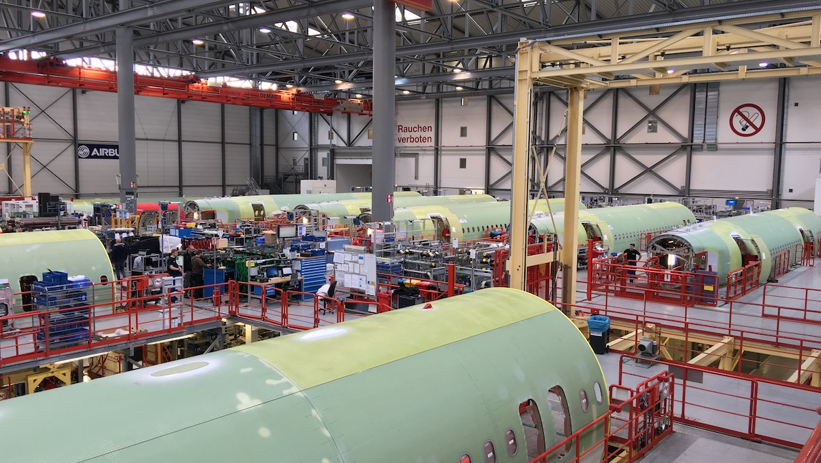 One of the A320 family final assembly lines. (John Walton)