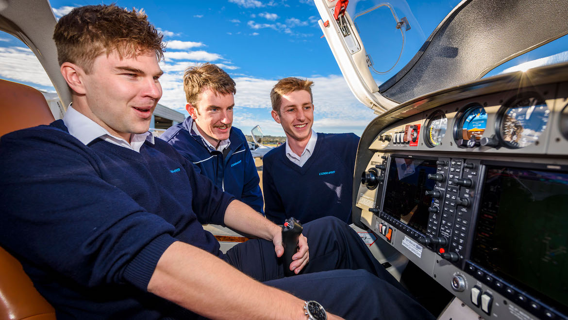 A supplied image of Cobham Aviation Services cadet pilots. (Cobham Aviation Services)