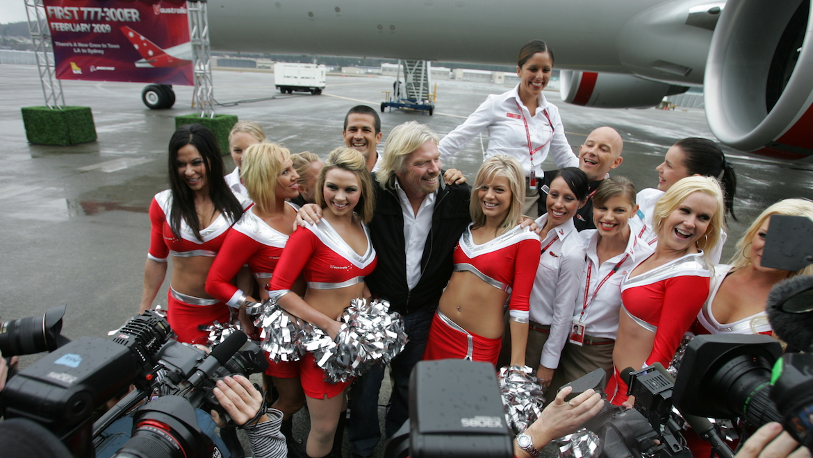 Centre of Attention –Flamboyant Virgin Group founder Sir Richard Branson, a magnet for media attention, backed Virgin Blue with a $10 million investment. (Paul Sadler)