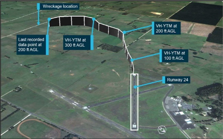 The flight path of VH-YTM after departing runway 24 at Mount Gambier Airport operating for Angel Flight. (ATSB)