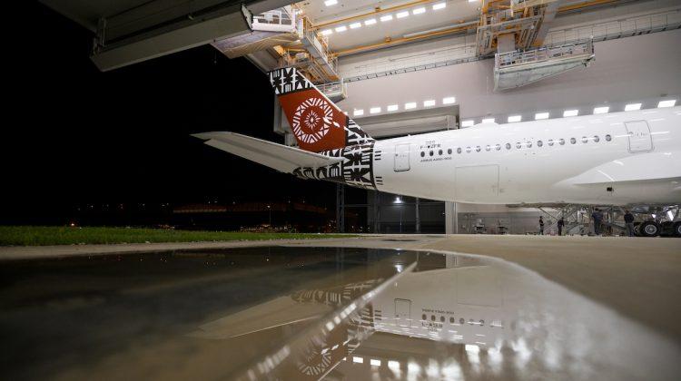 Fiji Airways' first A350-900 MSN299 in the paintshop. (Airbus)