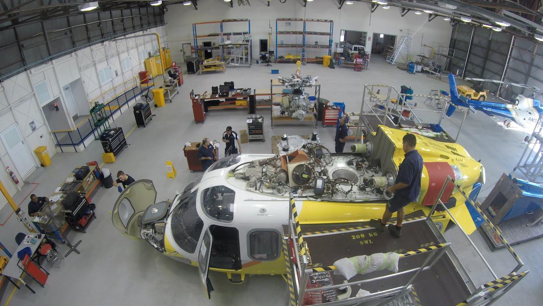 RACQ Lifeflight helicopters in the hangar. (RACQ Lifeflight)