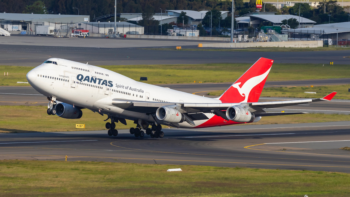 Qantas Boeing 747-400 VH-OJU takes off from Sydney Airport's Runway 34L as the QF99 bound for Los Angeles. (Seth Jaworski)