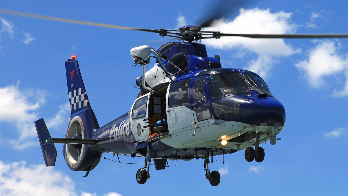 A file image of Victoria Police Air Wing AS365N3 helicopter VH-PVH. (Edward Chisholm)
