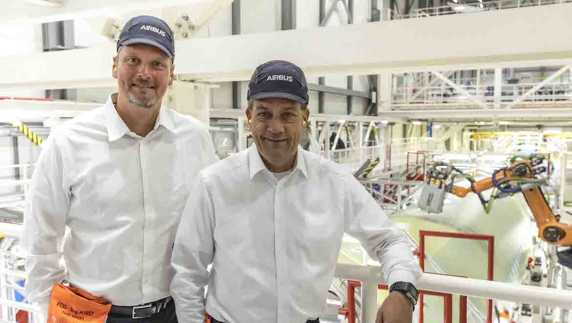 Chief operating officer Michael Schoellhorn and André Walter, head of the Hamburg plant and industrial site. (Airbus)