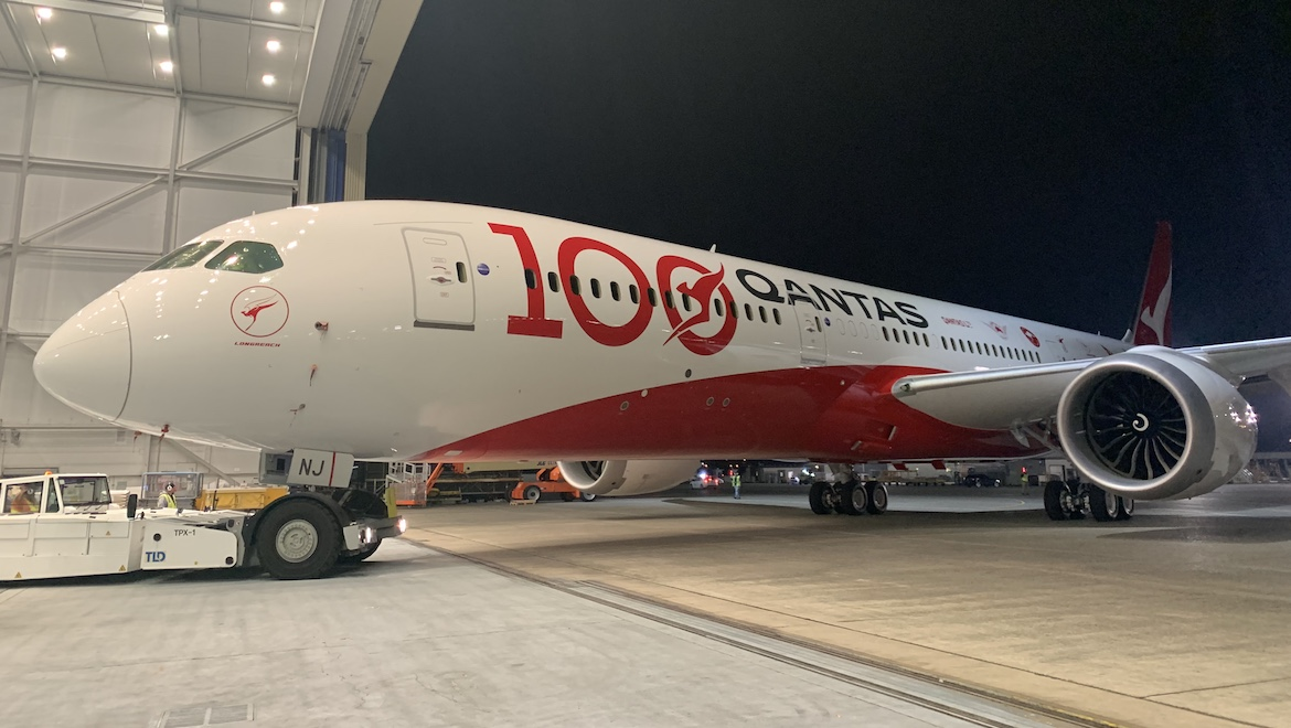 A supplied image of Qantas Boeing 787-9 VH-ZNJ in special centenary livery. (Qantas)