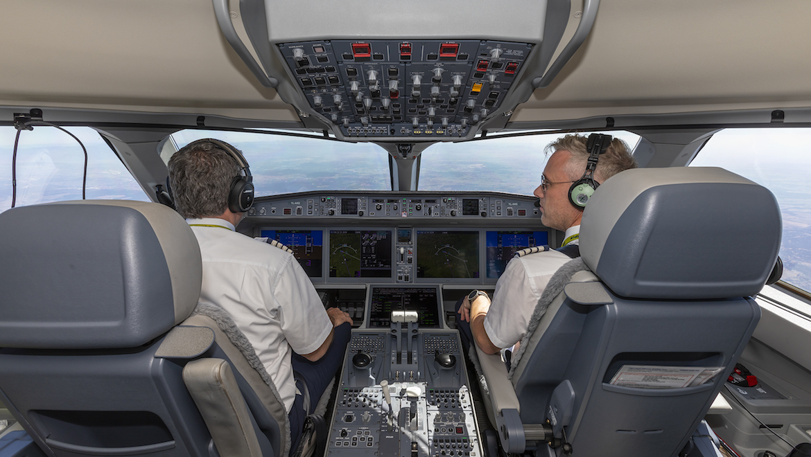 A look at the flight deck of airBaltic Airbus A220-300. (Seth Jaworski)