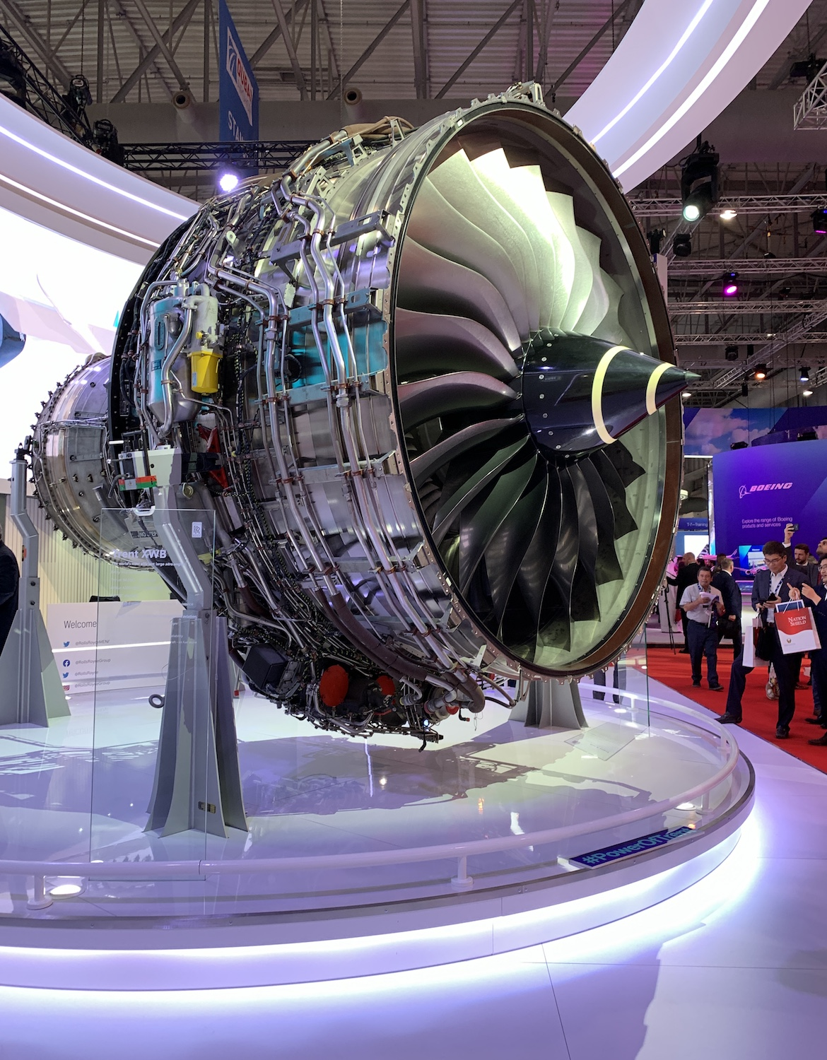 The Rolls-Royce Trent XWB engine that powers the Airbus A350 family of aircraft on display at the 2019 Dubai Airshow. (Denise McNabb)