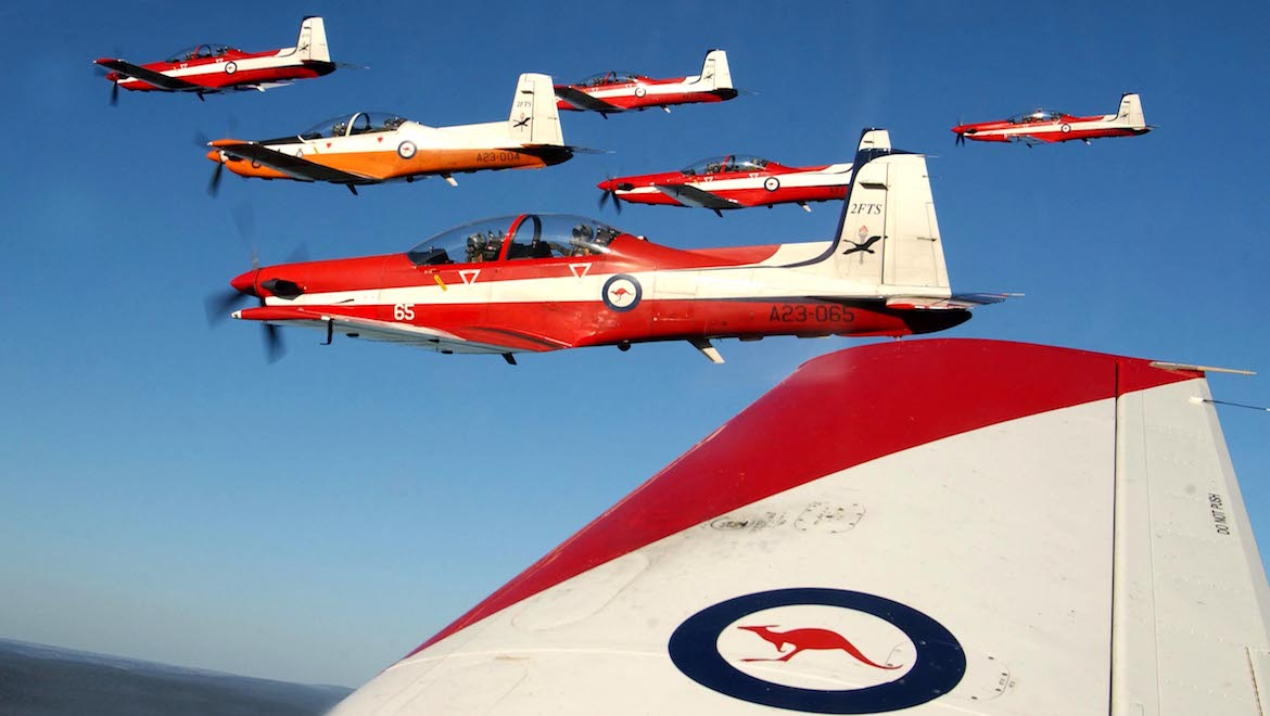 "Part of 2FTS No. 204 pilots course's graduation ""thunderbird"" formation flight. (LAC Allan Cooper/RAAF)"