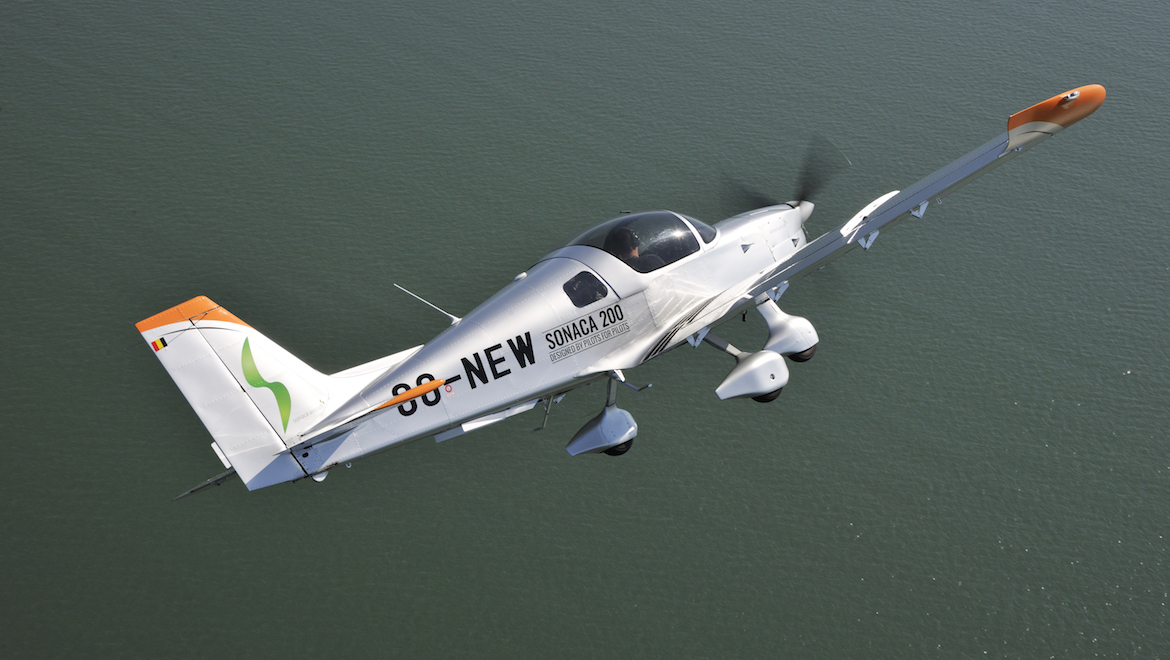 The Sonaco 200 OO-NEW in flight. (Keith Wilson/SFB Photographic)