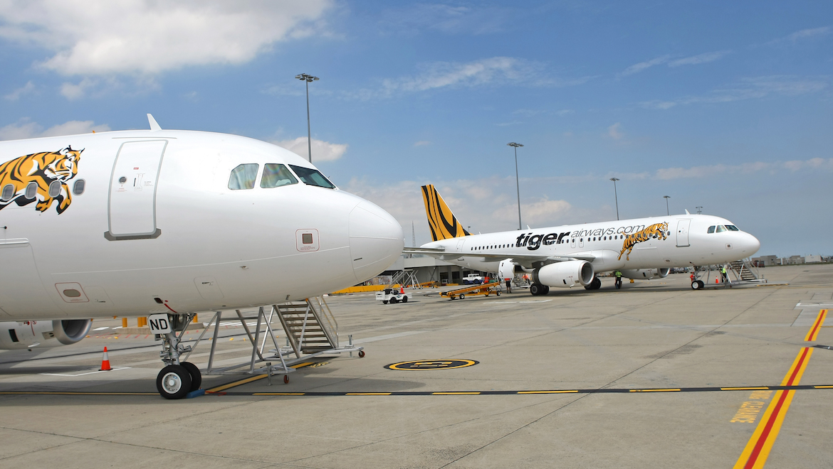 Factory fresh. Airbus A320 VH-VND (foreground) and VH-VNC (background) were delivered to Tiger Airways Australia direct from the Airbus factory in Toulouse, France. (Paul Sadler)
