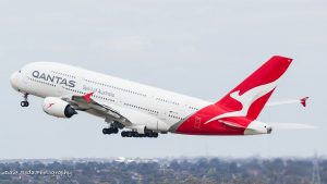 VH-OQA rotates from Melbourne Airport Qantas A380