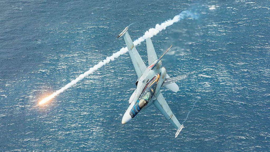 A Royal Australian Air Force FA-18A Hornet A21-23 Port Stephens