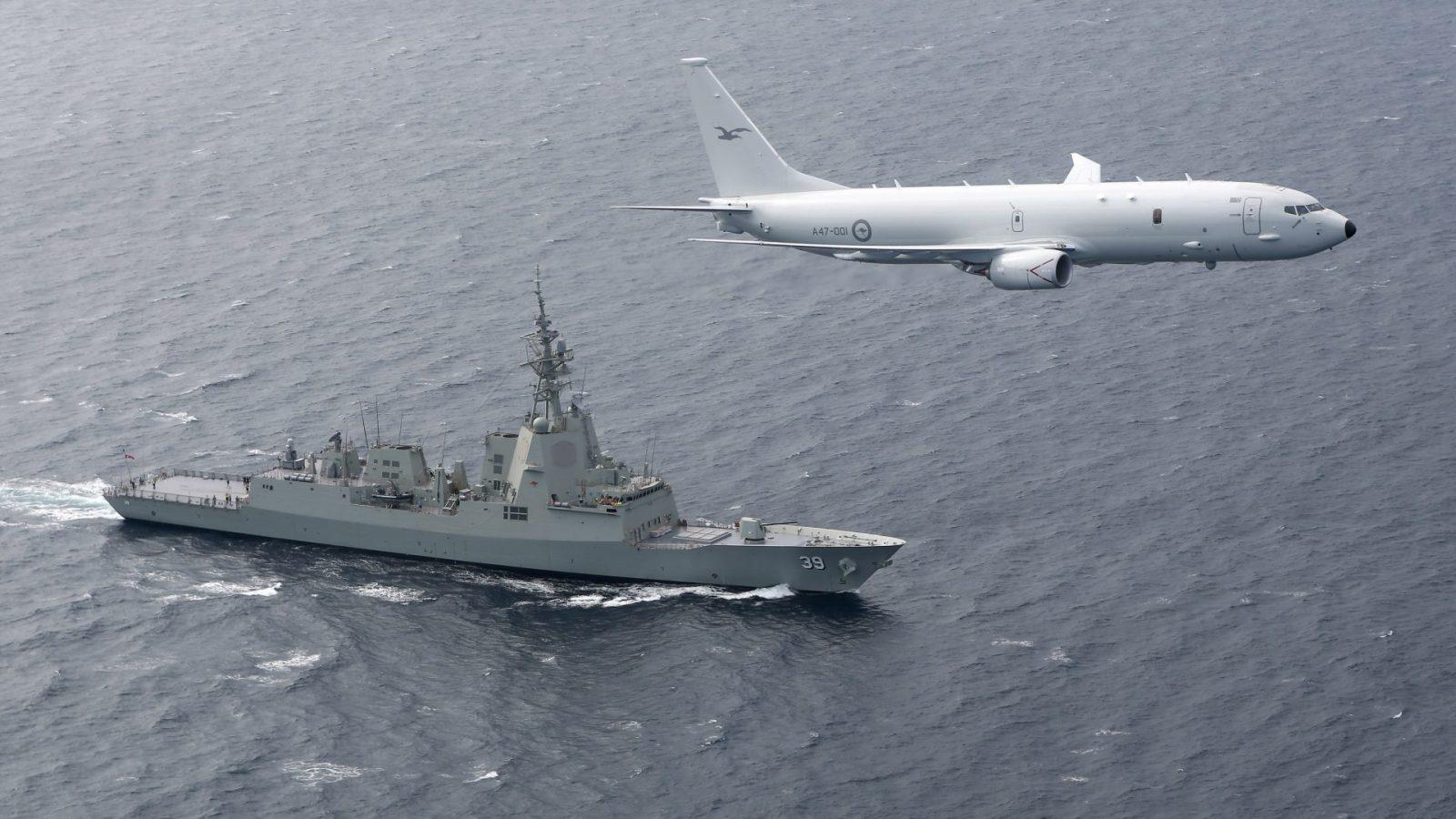 Royal Australian Air Force; Air-to-Air; Aircraft; A47 P-8A Poseidon; Royal Australian Navy; Ships; Hobart Class Air Warfare Destroyer (AWD);