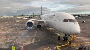 Australian Aviation's Blair Dods waits for his Air New Zealand 787-9, ZKNZQ msn 39296, to depart Auckland for Sydney