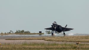 A RAAF F35A Lightning II aircraft touch down for the first time at RAAF base Darwin for exercise Arnhem Thunder 21.